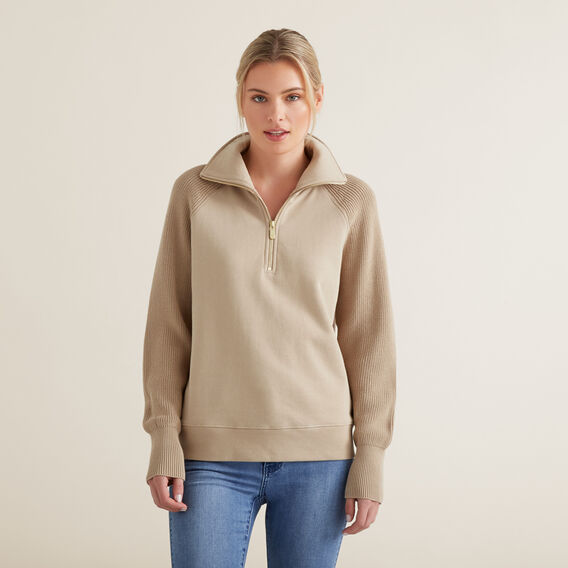 Ribbed Knit Sweater  NEUTRAL BEIGE  hi-res