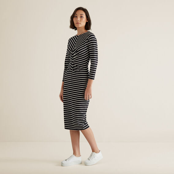 Gathered Jersey Dress  BLACK/FRENCH VANILLA  hi-res