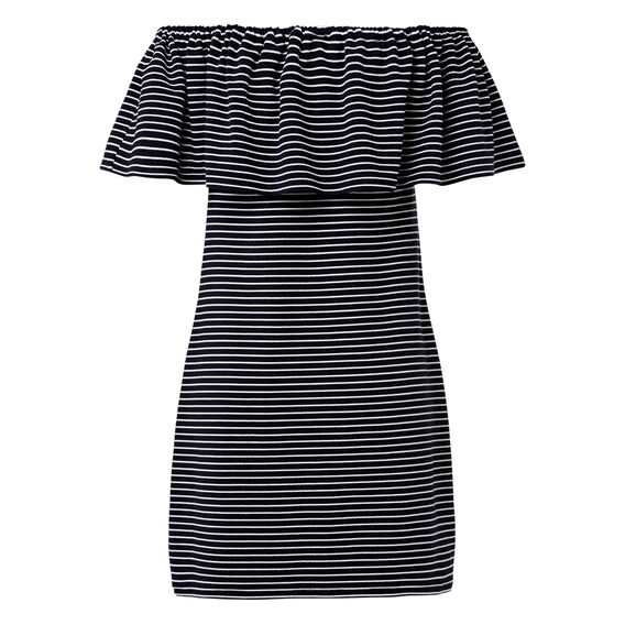 Stripe Off Shoulder Dress  INK BLUE  hi-res