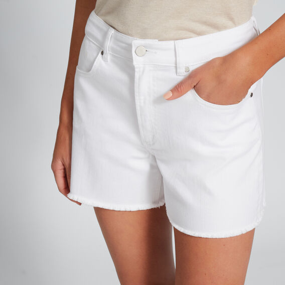 High Waist Denim Frayed Short  WHITE  hi-res