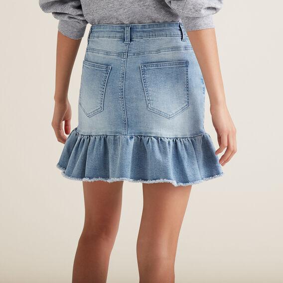 Raw Frill Denim Skirt  LIGHT WASH  hi-res