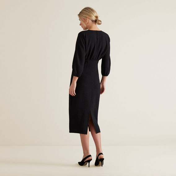Pleated Waist Dress  BLACK  hi-res