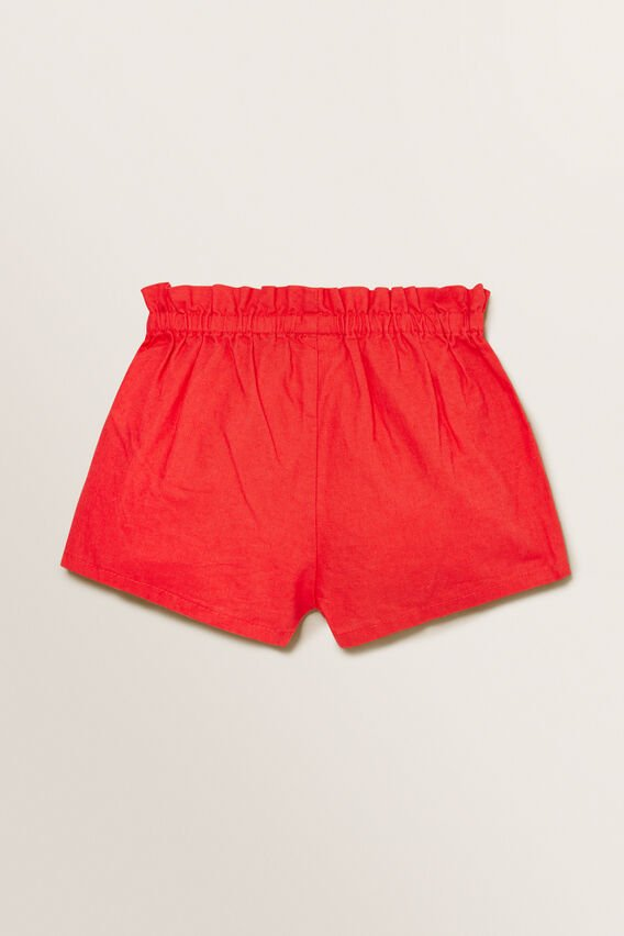 Linen Button Shorts  APPLE RED  hi-res