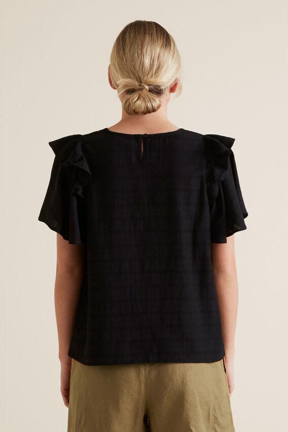 Frill Sleeve Check Blouse  BLACK  hi-res