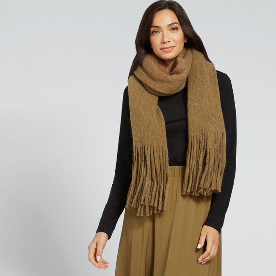 Plush Knit Scarf  KHAKI  hi-res