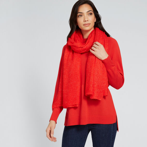 Wrap Knit Scarf  RED  hi-res