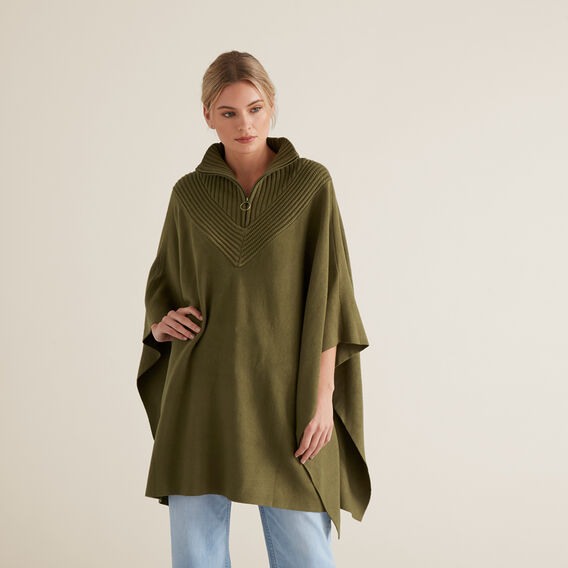 Zip Detail Poncho  RICH OLIVE  hi-res
