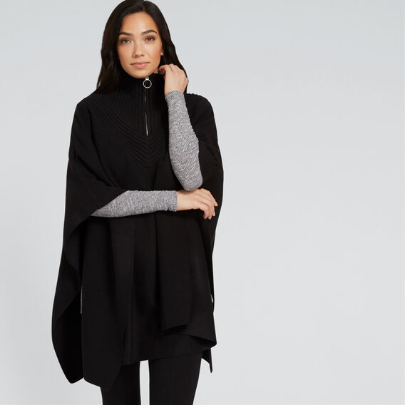 Zip Detail Poncho  BLACK  hi-res