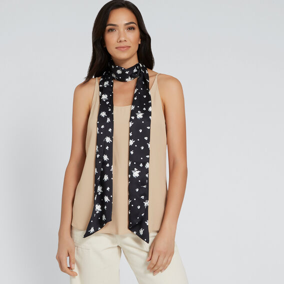 Long Skinny Neck Scarf  BLACK/CREAM  hi-res