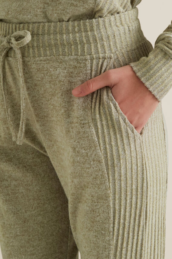 Ribbed Panel Trackie  WASHED OLIVE MARLE  hi-res