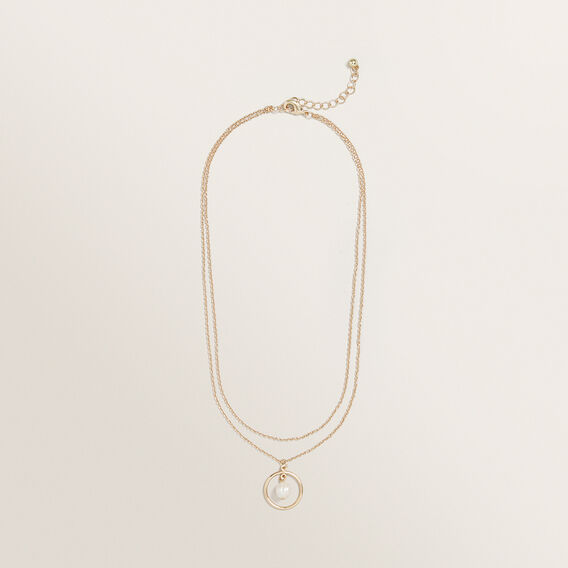 Pearl Disc Necklace  GOLD  hi-res