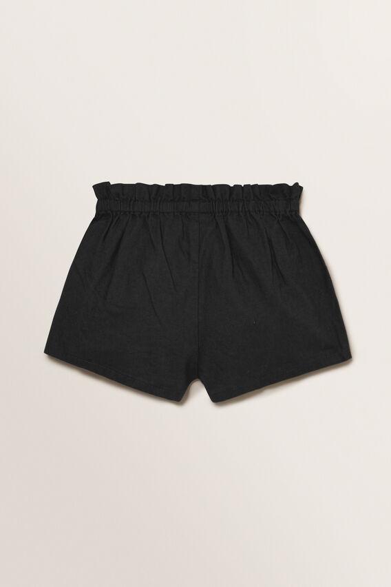 Linen Button Shorts  BLACK  hi-res