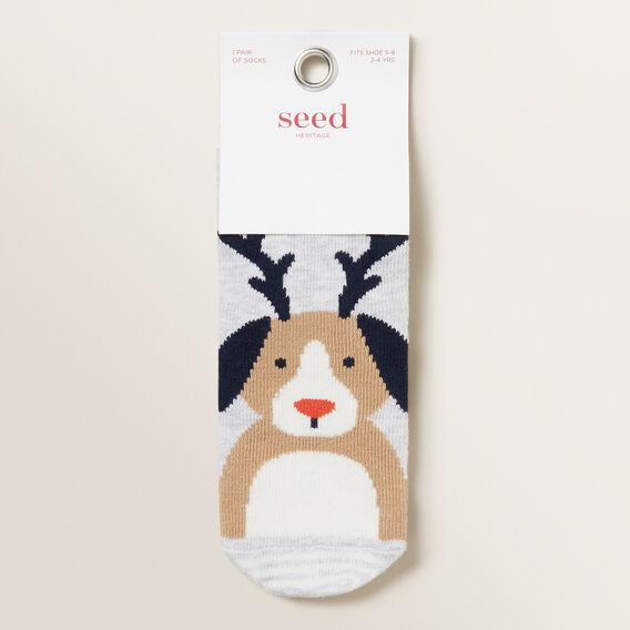Dog Reindeer Socks  GREY MARLE  hi-res