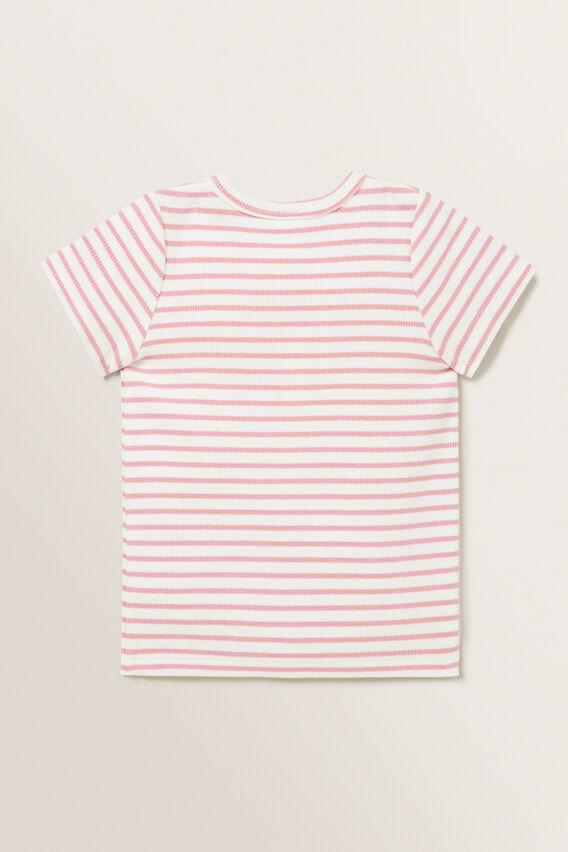 Stripe Rib Tee  DUSTY PINK  hi-res
