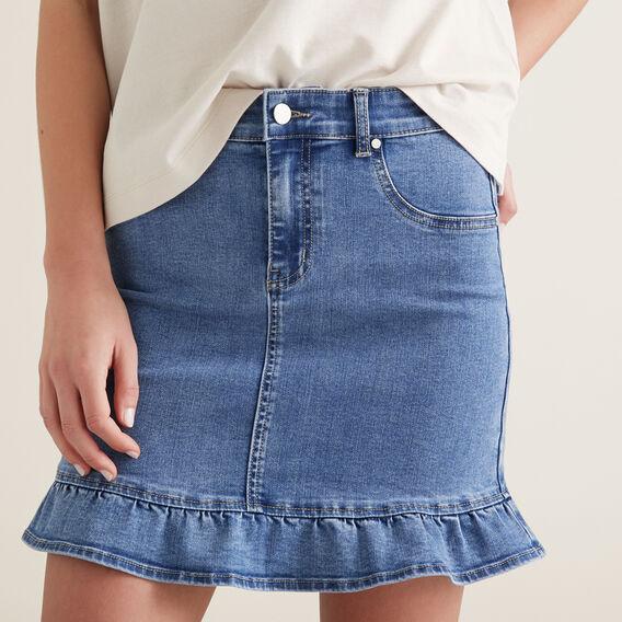 Frill Hem Denim Skirt  CLASSIC DENIM  hi-res