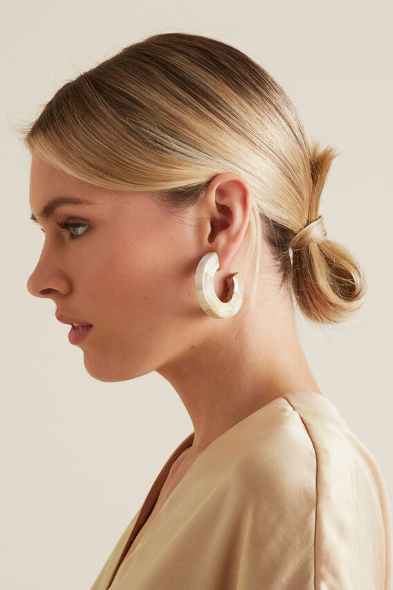 Shell Hoop Earrings  SEASHELL  hi-res