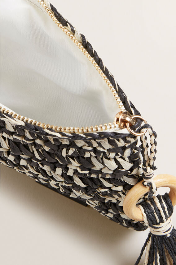 Two Tone Straw Pouch  BLACK/NATURAL  hi-res