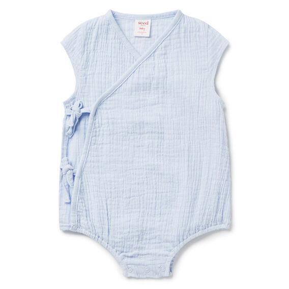 Woven Wrap Bodysuit  MISTY BLUE  hi-res