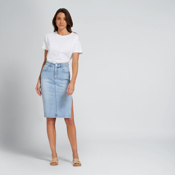 Boxy Split Hem Tee  WHISPER WHITE  hi-res