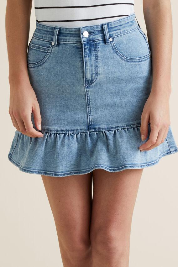 Ruffle Hem Denim Skirt  LIGHT WASH DENIM  hi-res