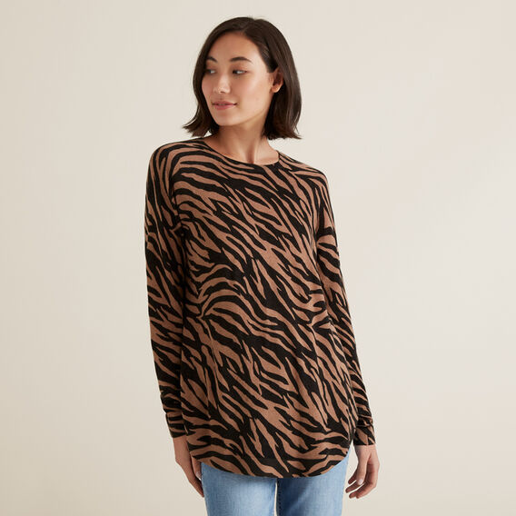 Raglan Zebra Sweater  WALNUT MARLE ZEBRA  hi-res
