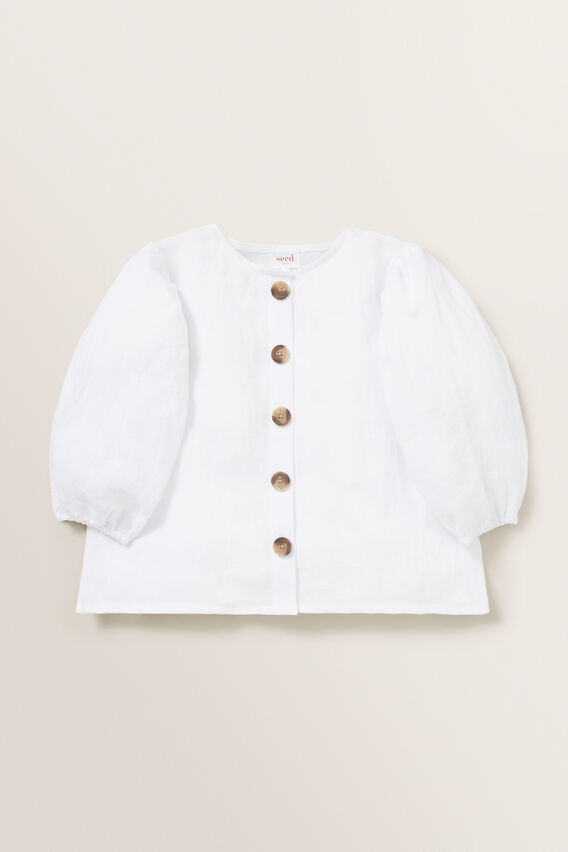Puff Sleeve Linen Top  WHISPER WHITE  hi-res