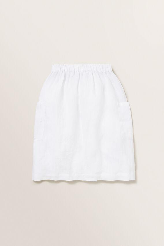 Linen Midi Skirt  WHITE  hi-res