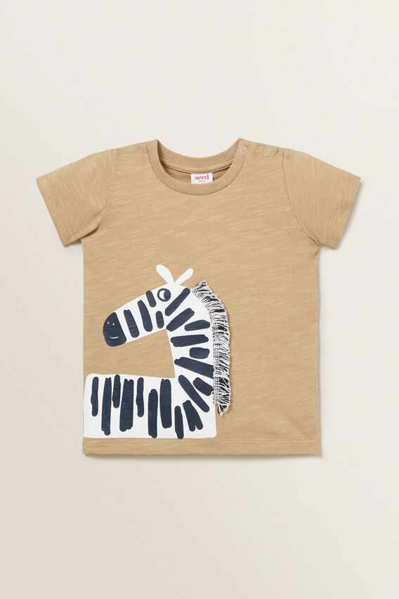 Novelty Zebra Tee  TAN  hi-res