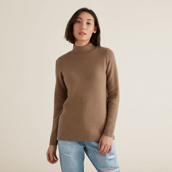 High Neck Split Sweater  WALNUT/FRENCH VANILA  hi-res