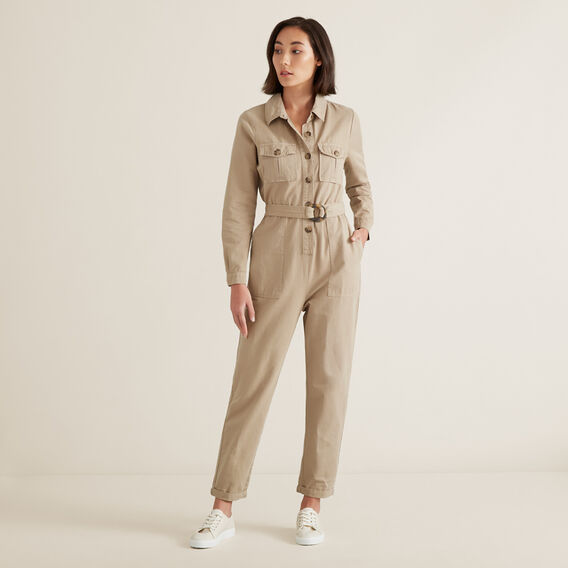 Button Through Jumpsuit  NEUTRAL BEIGE  hi-res