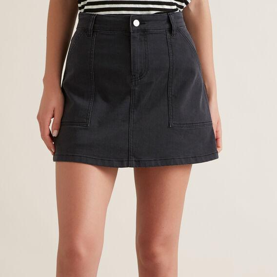 A-Line Denim Mini Skirt  WASHED BLACK  hi-res