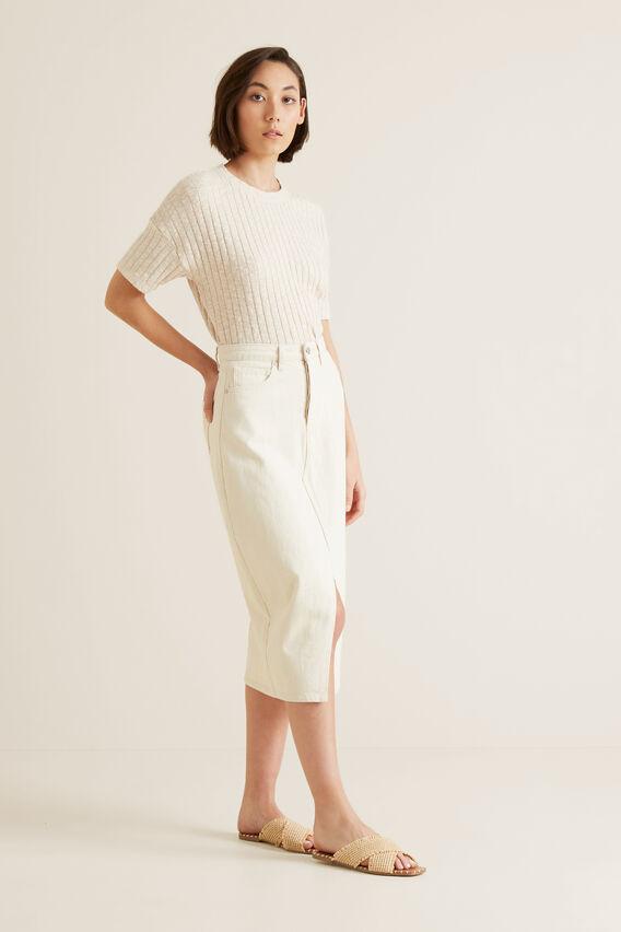 Longline Denim Skirt  OYSTER DENIM  hi-res