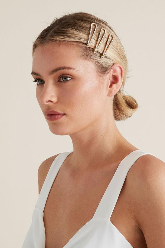 Diamante Shape Hair Pins  GOLD  hi-res