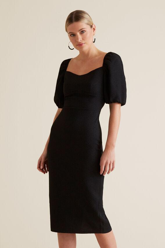 Square Neck Slimline Dress  BLACK  hi-res