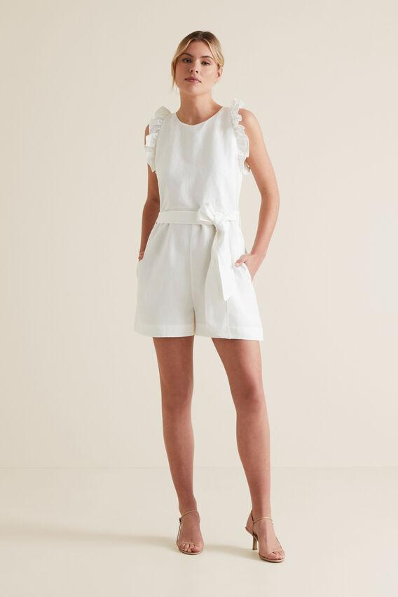 Linen Solid Playsuit  CLOUD CREAM  hi-res