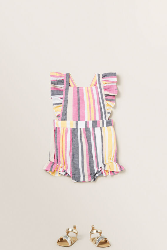 Multi Stripe Romper  MULTI  hi-res