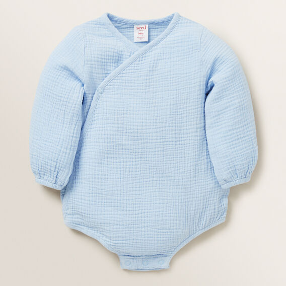 Cheesecloth Wrap Onesie  POWDER BLUE  hi-res