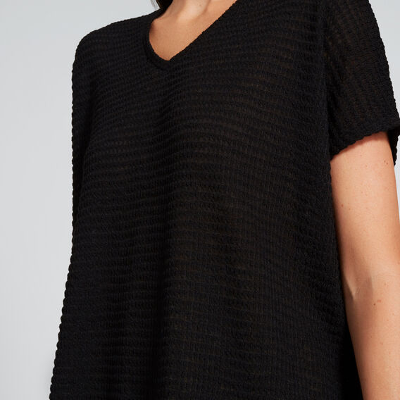 V-Neck Textured Tee  BLACK  hi-res