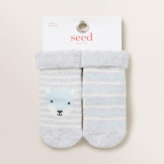 Fox Stripe Cosy Sock  GREY MARLE  hi-res