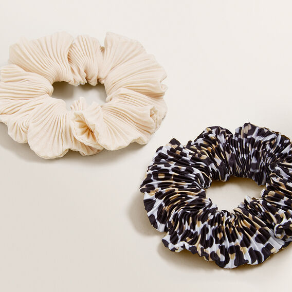 Crinkle Scrunchie Pack  LEOPARD CREAM  hi-res