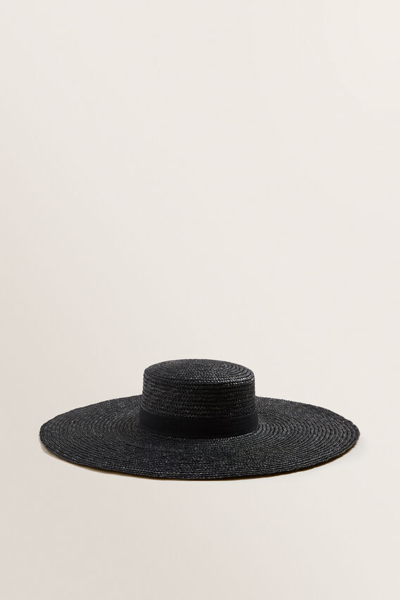 Wide Brim Boater  BLACK  hi-res