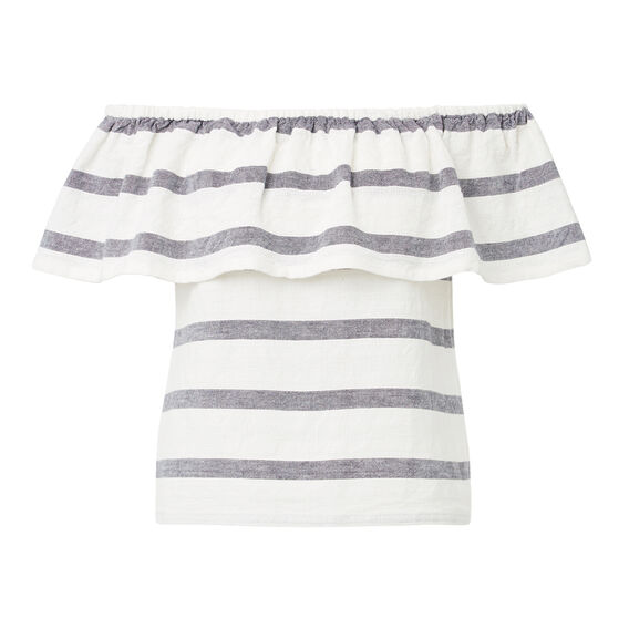 Off Shoulder Lace Hem Top  DEEP NAVY/WHT STRIPE  hi-res