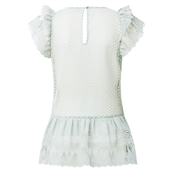 Lace Frill Top  DUCK EGG  hi-res