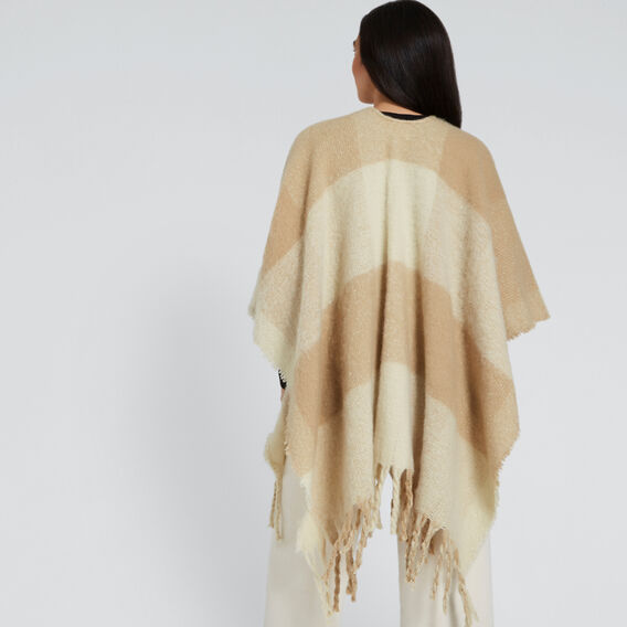 Check Knit Poncho  BEIGE CREAM  hi-res