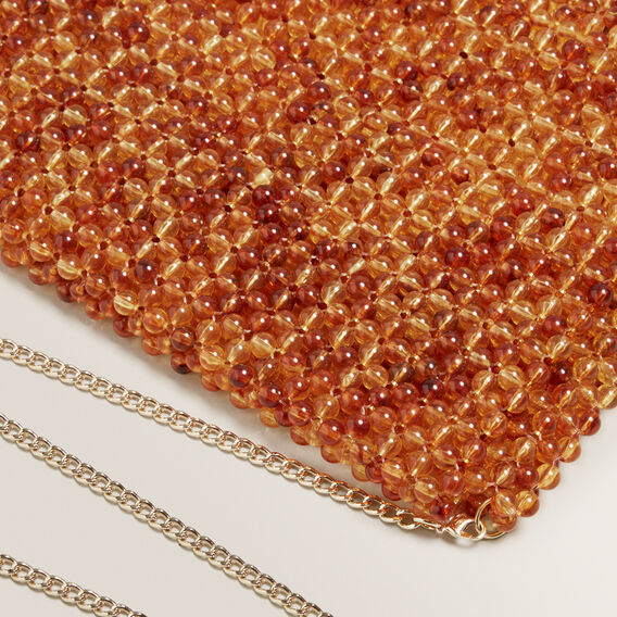 Beaded Fold Over Clutch  AMBER  hi-res