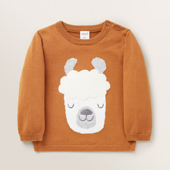 Chenille Llama Knitted Sweater  NUTMEG  hi-res