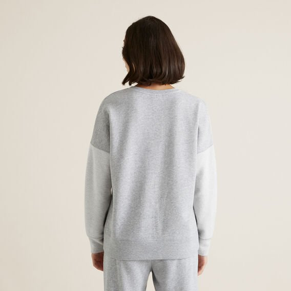V Neck Cosy Sweat  MID GREY MARLE  hi-res