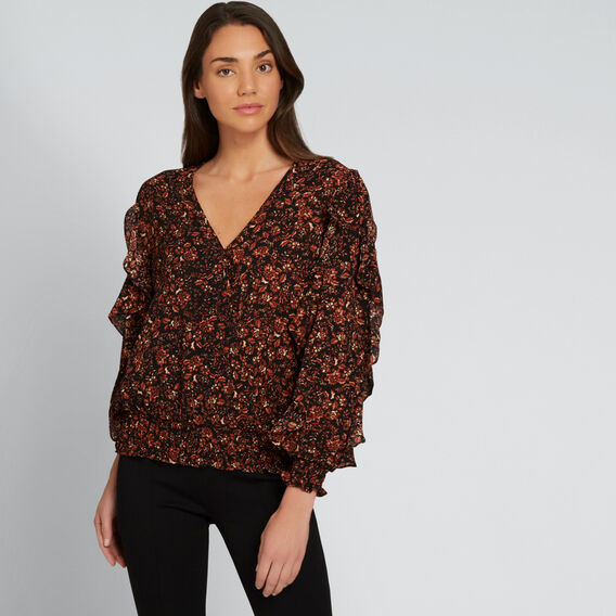 Textured Wrap Top  FLORAL  hi-res