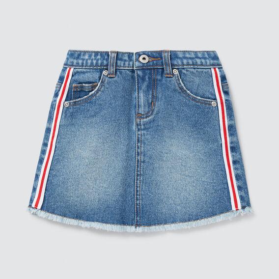 Side Stripe Denim Skirt  VINTAGE BLUE WASH  hi-res