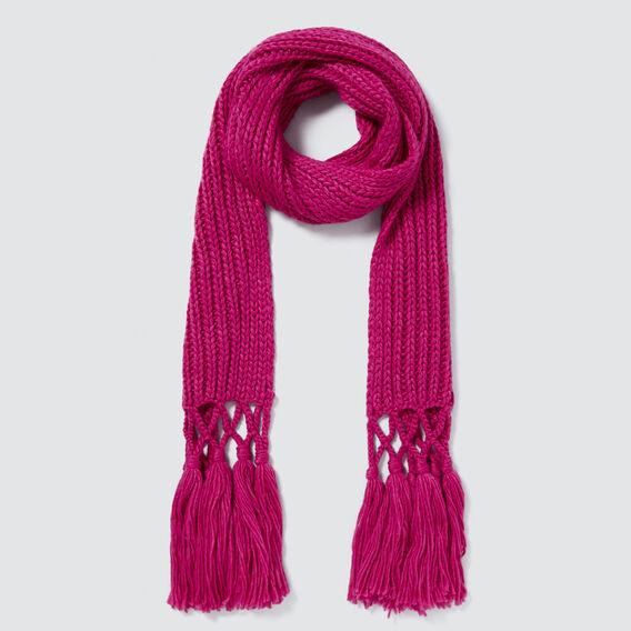 Tassel Knit Scarf  FUSCHIA  hi-res